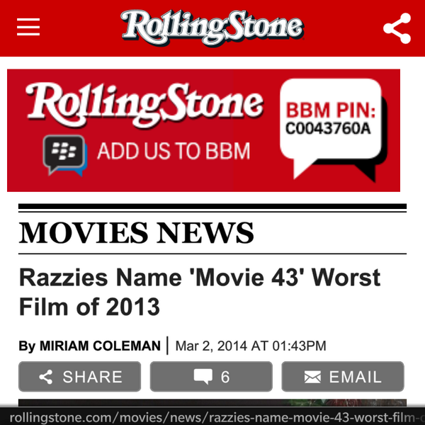 Open a @rollingstone article on my @BlackBerry & look at the banner ad... Nice work @BBM http://t.co/nsGip3l0U3