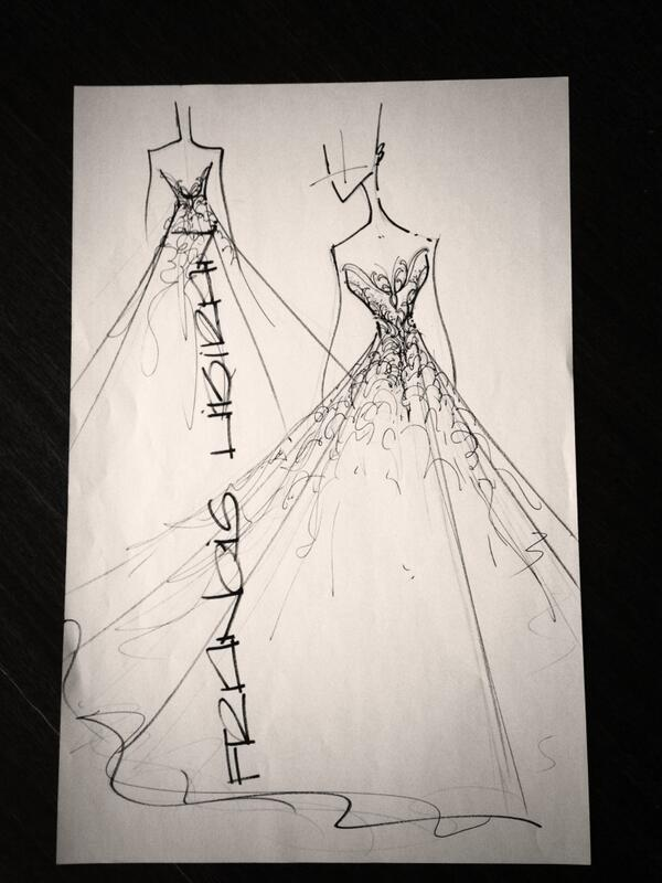 Sketch of Kathryn Bernardo's debutant gown by Francis Libiran. Its will be in mystic pink. Can you imagine it? http://t.co/5tCUyRdaC6