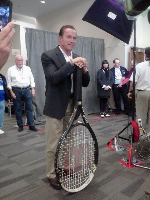 Even the Terminator is enjoying some #WorldTennisDay celebrations today! Perfectly sized racquet for @Schwarzenegger http://t.co/SlcrGr3e8u