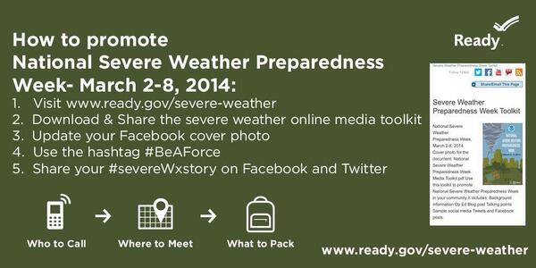It's National Severe Weather Preparedness Week, help spread the word. http://t.co/ErjQK607Kx #SMEM #BeAForce http://t.co/yMPVmn3plX