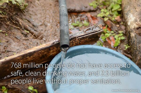 768 million people do not have access to safe, clean drinking water. #TenDaysOfWater #WorldWaterDay http://t.co/NeVD8NIsvJ