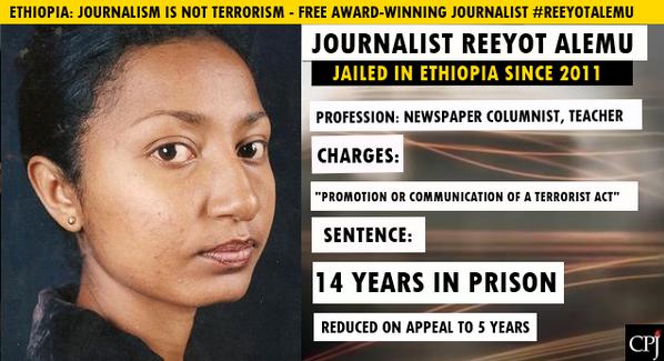 #Ethiopia: #journalism is not terrorism. Free award-winning journalist #ReeyotAlemu, grant her #health care #women http://t.co/r0Z6MsCtRT