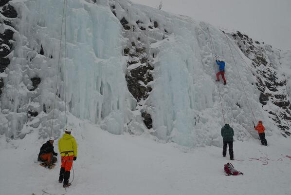 Ice climbing near Abisko in northern Sweden with @UK_Haglofs #haglofsarcticweekend http://t.co/g54cLOASpf