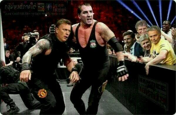 Loool oi I'm nicking this! RT @BigFlowdan: RT @DBevois: Rodgers vs Moyes http://t.co/oAkTEoIOXD >>> i love this pic!!!!