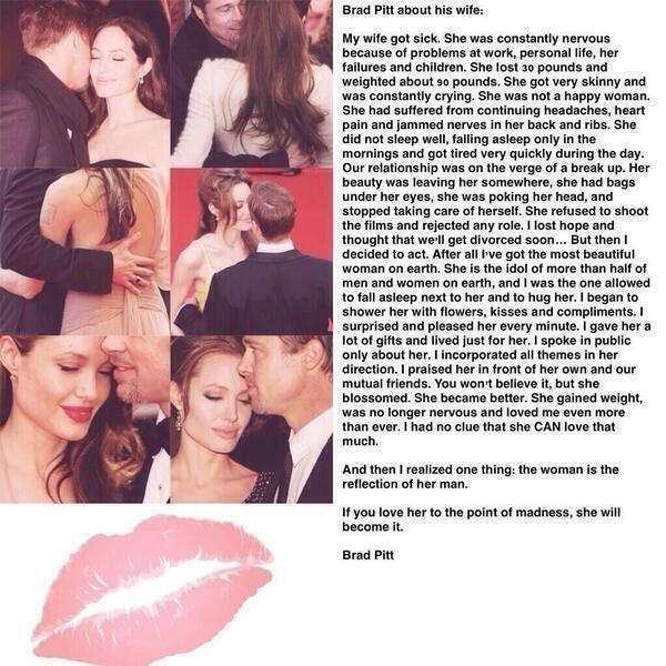 Brad Pitt about his wife http://t.co/TuyiLLzExO