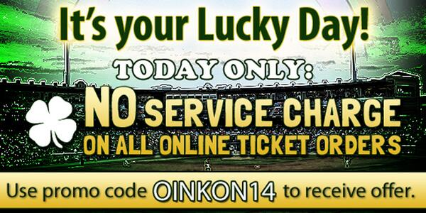 Happy St. Patrick's Day! Use promo code OINKON14 and enjoy no service fees on IronPigs tix! http://t.co/j7bAXdAUl2 http://t.co/k3q7qu0u7Q
