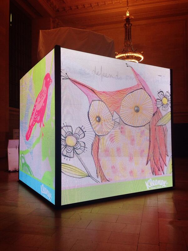Wow! @Kleenex has a giant tissue box set up inside Grand Central today. #KleenexStyle #ad http://t.co/vyT3YbjGbu