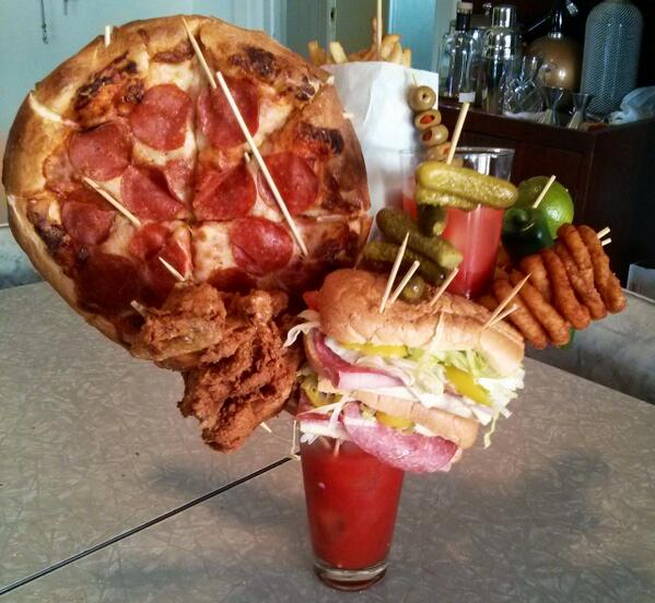 This is officially the greatest Bloody Mary ever made. Who can guess my favorite garnish in there? http://t.co/NiGPz8WIJh