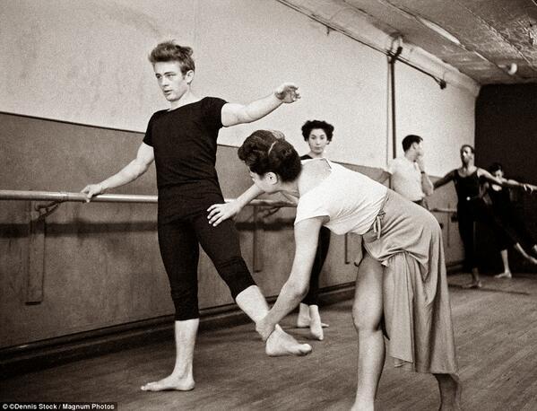 """We ALL need ballet class: """"James Dean attending a dance class. NYC, 1955 http://t.co/AuXLQll315"""""""