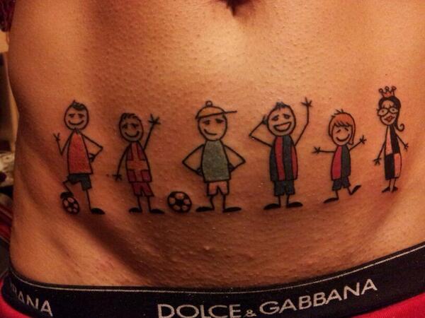 Bi9Rz bIYAAYZyf Genoas Daniele Portanova gets a colourful set of stick men tattoos marking all the teams hes played for