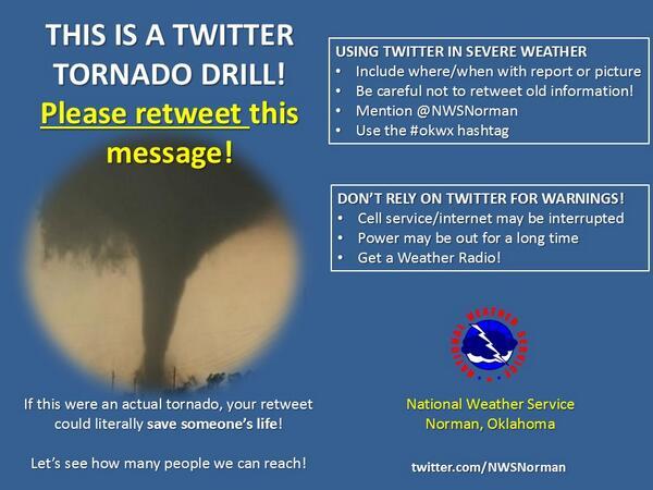 Here we go! TORNADO DRILL MESSAGE! Please Retweet! #twittertwister #okwx #txwx http://t.co/f009OFBTIn