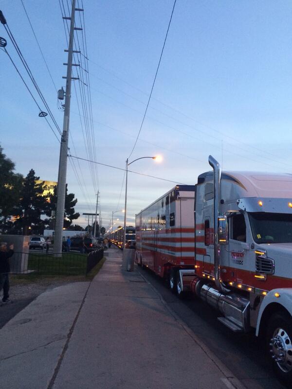 Haulers lined up on LV Blvd. #kobalt400 #tweetyourseats #nascar http://t.co/Adfowe29lN