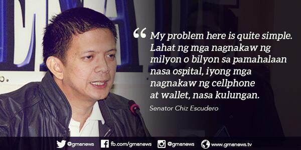 Balita Pilipinas (@GMA_BP): Hindi raw matanggap ni Sen. Chiz Escudero na ginagastusan ng gobyerno ang mahigpit na seguridad para kay Napoles. http://t.co/3nYv63EoCG