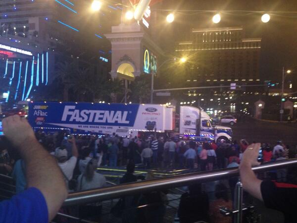 The #99 hauler cruisin' down the Las Vegas strip #haulerparade http://t.co/D4GVx9ytf5