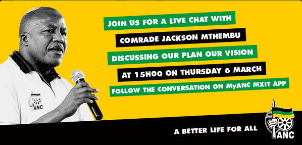 Live Chat with the @MyANC_ 's Jackson Mthembu is happening NOW! Add MyANC on Mxit and join the debate! http://t.co/0mxkaH0rBk