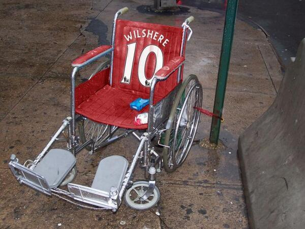 BiDvY2bCMAAmi6r Some prankster (probably a Spurs fan) has made Arsenals Jack Wilshere a personalised wheelchair [Picture]