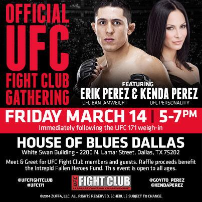 Want the chance to meet @Goyito_Perez & @KendaPerez in Dallas for #UFC171? Join Fight Club @ http://t.co/MedcFofYVu http://t.co/5WId9UUZme