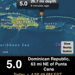 RT @NWSMiami: #Earthquake of 5.0 magnitude just occurred 85 mi NW of Mayaguez, PR but NO tsunami threat. #flwx http://t.co/1pmv1NRfFK