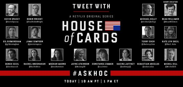 So @HouseofCards have almost all of their cast answering questions right now live. http://t.co/pPRMhOTQee -- Brilliant #AskHOC #SocialMedia
