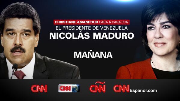 La entrevista EXCLUSIVA de @camanpour a Nicolás Maduro, este viernes @ 10:30pm ET http://t.co/cLO2TQLy9y #MaduroCNN http://t.co/7jrTQzSqJv