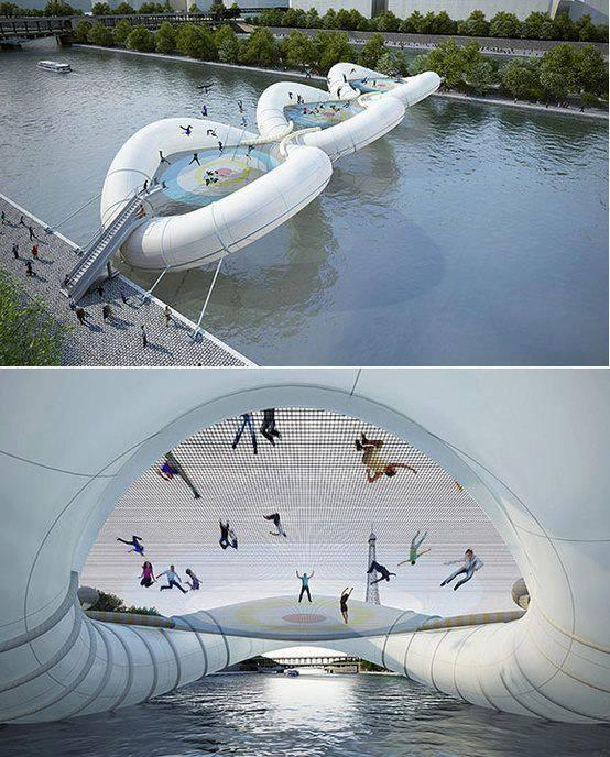A bridge in Paris made of inflatable tubing & 3 giant interconnected trampolines http://t.co/kpZ6M0u0T3