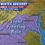 Winter Advisory for light freezing rain & sleet now includes much of #DMV. Well show you whats up at 10! http://t.co/1dHgKXxZVX
