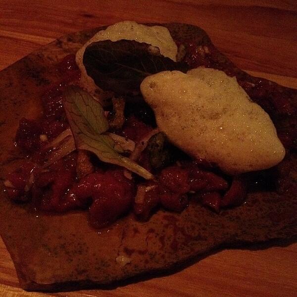 broken arrow axis: venison tartare, coffee, egg yolk. @QuiAustin http://t.co/NYahIBkrfr