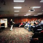 Coach Els doing his thing during Coaches Clinic. #Huskers http://t.co/fzx3WEt2VG