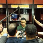 Gerald Green mobbed by the media after his big game against OKC. #SunsVsThunder http://t.co/QrDHX5pmqm