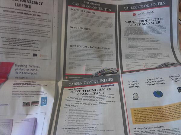 Political reporter, news reporter, text editor / page designer, ad sales jobs in today's @irishexaminer #jobfairy http://t.co/7iyPd6zC0I
