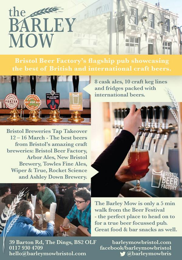 Bristol Breweries Tap Takeover at the Barley Mow from next Wednesday. It's going to be good.. https://t.co/dokBzvsvsL http://t.co/J92ph0lMlZ