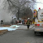 Firefighters work the trailer fire in Dover Twp. http://t.co/CLXA71zhOX
