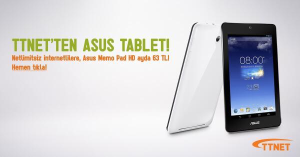 TTNET (@TTNETAS): İnterneti Netlimitsiz olanın tableti TTNET'ten! Netlimitsiz  + Asus Memo Pad HD ayda 63 TL! http://t.co/muPEGwO90Y http://t.co/q0cMgfQTnw