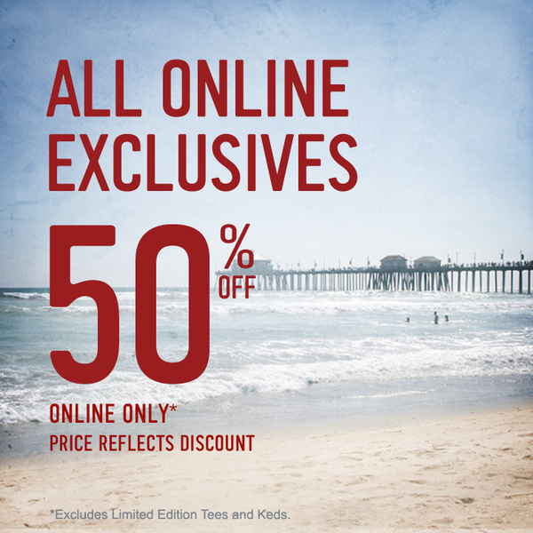 Surf our site: ALL Online Exclusives are 50% off! Shop now! http://t.co/FfWxDJTq5A   Details: http://t.co/AbnVaUYnFF http://t.co/KrQhtzFBMc