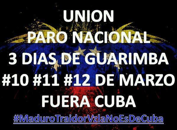 CONVOCAN PARO NACIONAL EN #VENEZUELA. #MaduroRenunciaYA #MaduroTraidorVzlaNoEsDeCuba #MaduroMataLaPatriaAgoniza http://t.co/wY3kuDnzbv