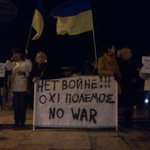 "Protest by ppl from #Ukraine living in Athens. Some hold flags+chant ""no to war"" & ""Putin is a new Hitler"" #rbnews http://t.co/EvSkKMmZ3w"