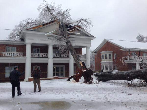 The tree was more than 100 years old and split due to a combination of wind and ice buildup. #Elon http://t.co/HCqJHbHkFf