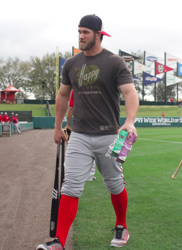 Bryce Harper is yoked this spring training. Must be the Girl Scout cookies. #fantasybaseball http://t.co/dbNAhSogi0