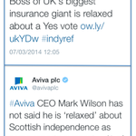 RT @VoteNO2014_UKOK: SNP campaign were busy today discussing Avivas views on #indyref. Compare and contrast Yes Scotland and Aviva tweets http://t.co/zzugLCy9jr