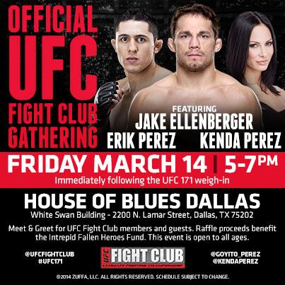 Great news, FC! Jake @EllenbergerMMA will be joining us @ our FC party for #UFC171 w/ @Goyito_Perez & @KendaPerez! http://t.co/AHLU9mdtNL