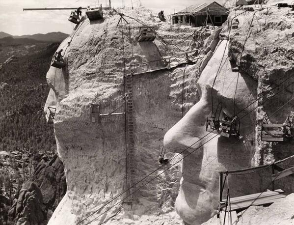 Mount Rushmore under construction, 1939 http://t.co/JLCer1VixV