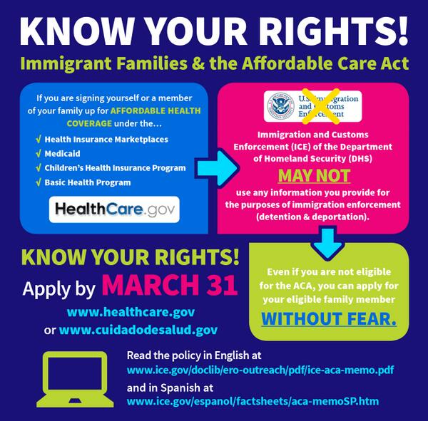 Dont be afraid to help ur family #GetCovered. Know ur rights #ICE & #DHS cant use ur #ACA info against you via @nlirh http://t.co/PncfWzJzv9