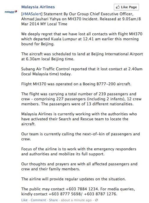 LO ÚLTIMO... #MalaysianAirlines confirma desaparición de Boeing 777 que viajaba con destino a Beijing http://t.co/8jo4PYJlC3