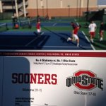 Ready to shuck some @OhioState Buckeyes!! @OU_MTennis is ready to break it off the chain, warmed up & firing bullets! http://t.co/WQF2dNnWtA