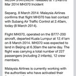 RT @scejas: #Malayasia Airlines statement on Flight MH370; missing from radar enroute to #Beijing, #China. http://t.co/27HgV5xeHD
