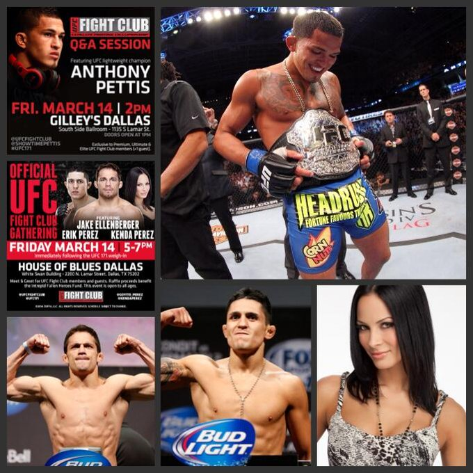 Don't miss our #UFC171 FC events w/ @Showtimepettis, @EllenbergerMMA, @Goyito_Perez, & @KendaPerez! Premium & up! http://t.co/nV9t3eTJ8K