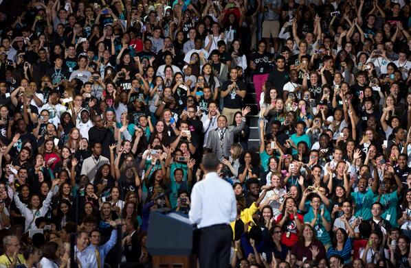 But but polls say Americans don't like PBO. #BS RT @petesouza: LOUD crowd today at Coral Reef High School in Florida http://t.co/o35NfhlEqF