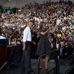 First Lady acknowledges crowd at Coral Reef High School http://t.co/UgCGjBQ3BU