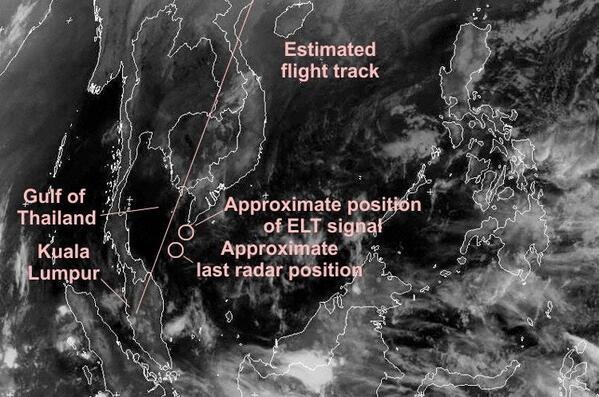 Infrared VISSR Satellite Image Mar 7th 18:00Z (Graphics: AVH/Meteosat) #PrayForMH370 #MalaysiaAirlines http://t.co/3SS9gUgWd7