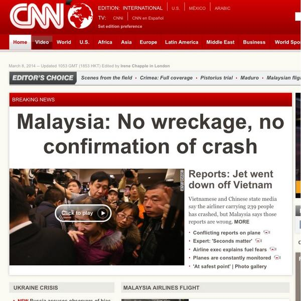Just saw this on CNN's website, in case anyone else said CNN mentioned a crash was found. #MH370 #PrayForMH370 http://t.co/cyuGD83ScK